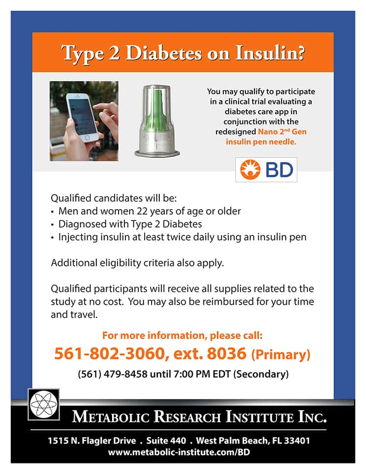 Diabetes care app for Type 2 Diabetes Study Flyer