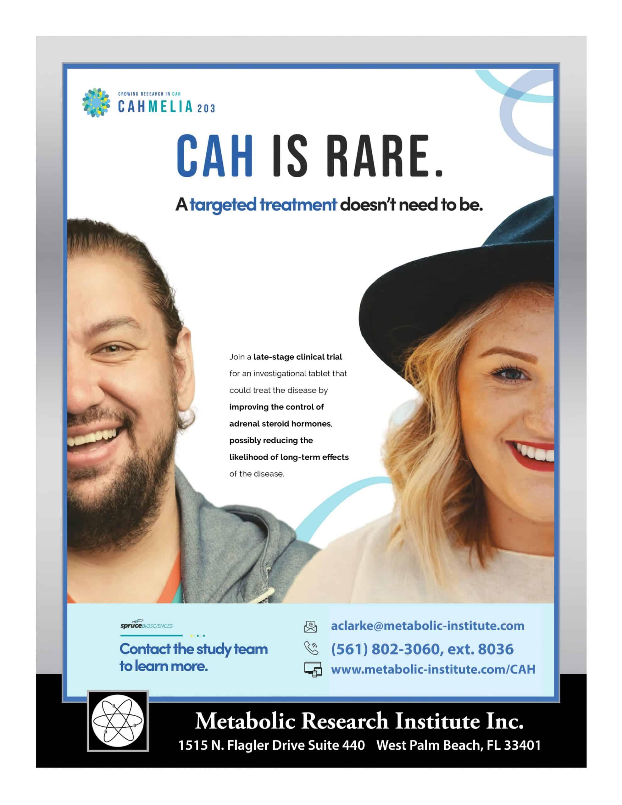 Congenital Adrenal Hyperplasia (CAH) study enrolling now in West Palm Beach FL