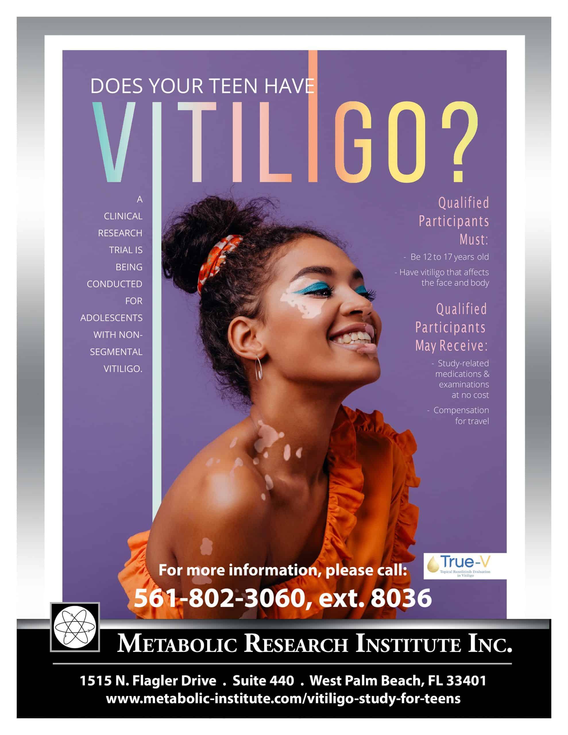 Vitiligo Study For Teens Clinical Study FLyer