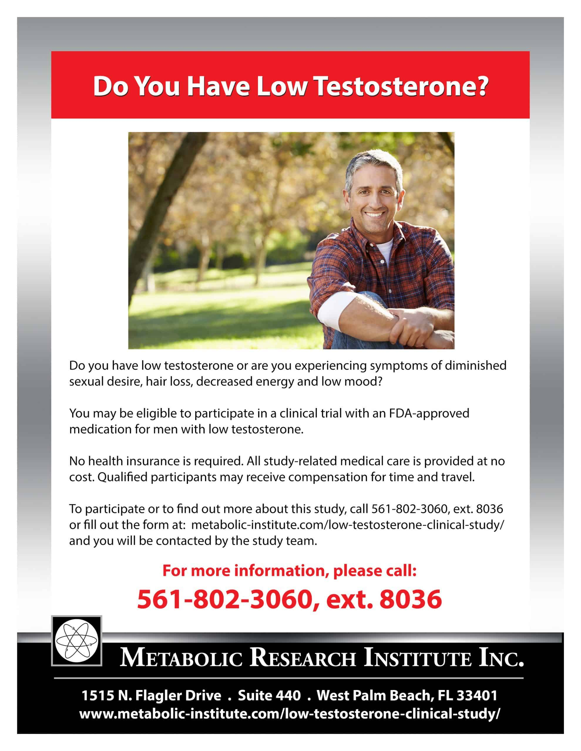Low Testosterone Clinical Research Study in West Palm Beach FL