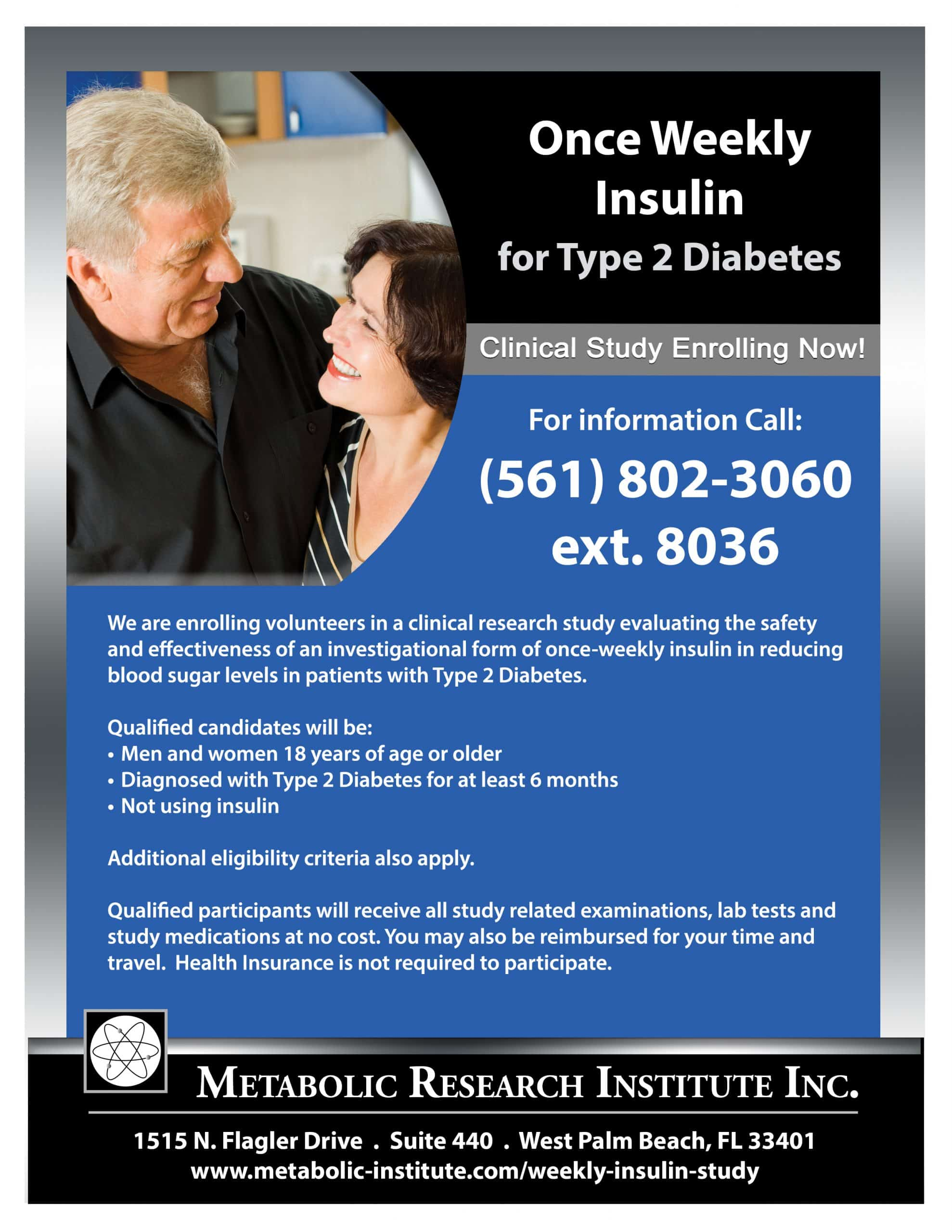 Once Weekly Insulin Clinical Study flyer